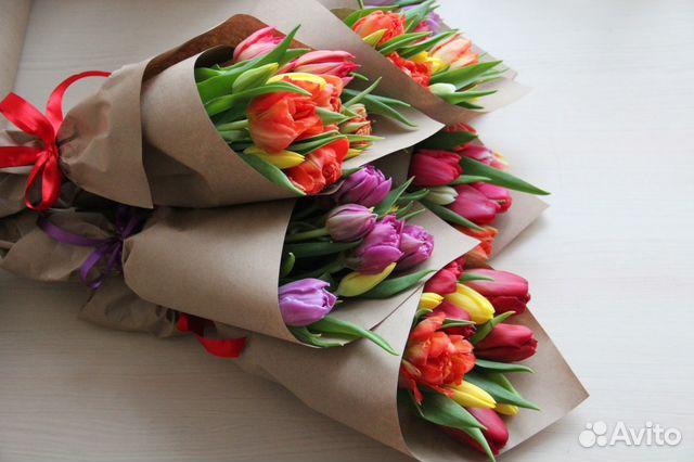 Букет тюльпаны в крафт бумаге