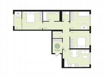 3-к квартира, 77.4 м², 8/9 эт. — Квартиры в Тюмени