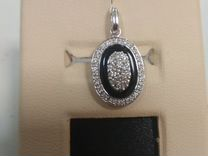 Золотой кулон 585 пробы с ониксом и бриллиантами