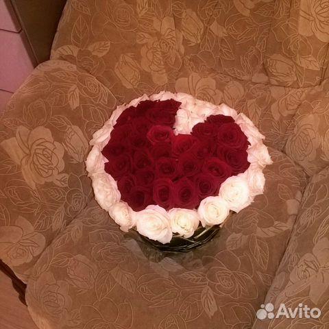 Цветочнаяя композиция из роз в корзине сердце 89297774456 купить 1