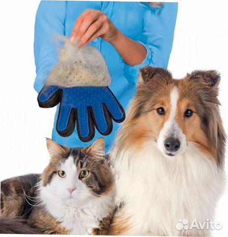 84942303606  Перчатка для вычесывания шерсти домашних животных