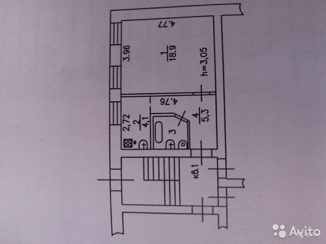 1-к квартира, 32 м², 1/2 эт.  89125009257 купить 2