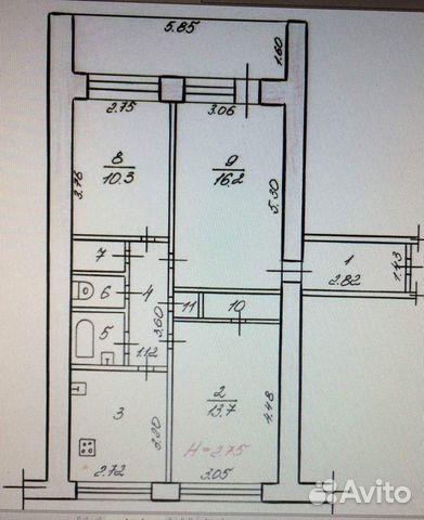 3-к квартира, 64.5 м², 8/9 эт.
