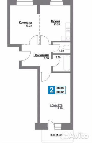 2-к квартира, 60 м², 7/10 эт.  89010527776 купить 2