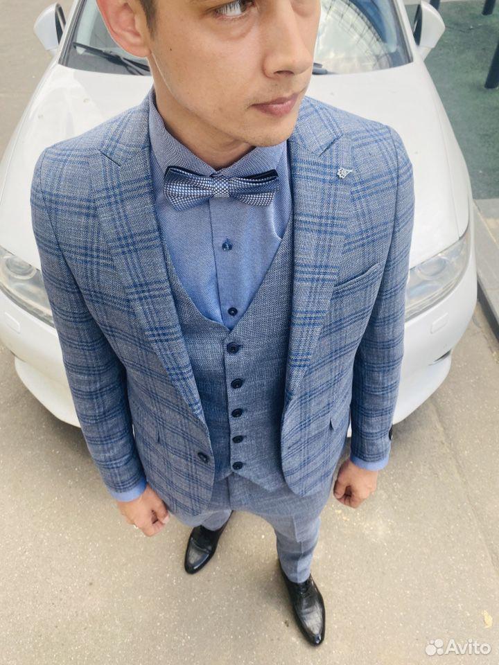 Серо синий костюм  89999758742 купить 2