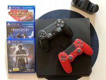Sony PS4 slim 500gb 2 контроллера с беспроводной з