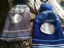 Шапка-шлем для детей. Осталась синяя